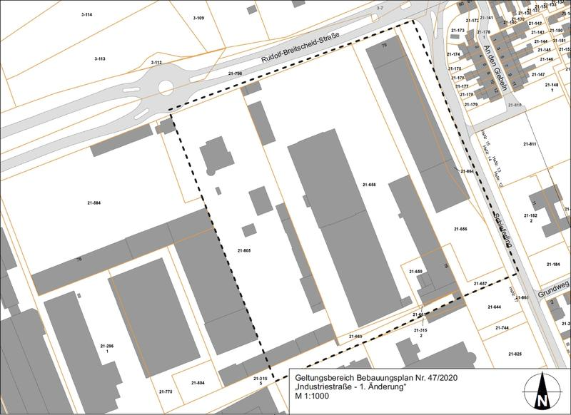 """Geltungsbereich Bebauungsplan Nr. 47/2020 """"Industriestraße - 1. Änderung"""""""